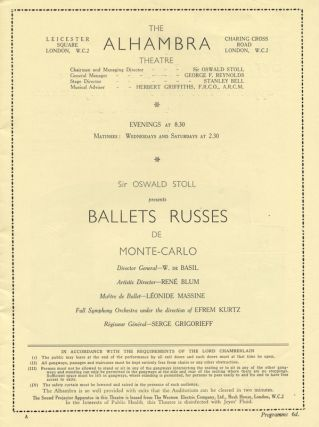 Ballets Russes de Monte-Carlo Director General - W. de Basil Artistic Director - Renée Blum Maître de Ballet - Léonide Massine Full Symphony Orchestra under the direction of Efrem Kurtz Régisseur Général - Serge Grigorieff. Program for the 1933 season at The Alhambra Theatre, London. BALLETS RUSSES DE MONTE CARLO.