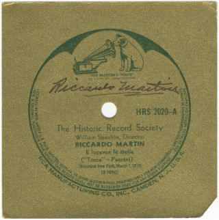 Autograph signature in black ink on a gold RCA record label featuring Martin. Riccardo MARTIN