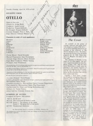Program for Verdi's Otello at The Met in Boston, Hynes Civic Auditorium, Boston, April 24, 1979....