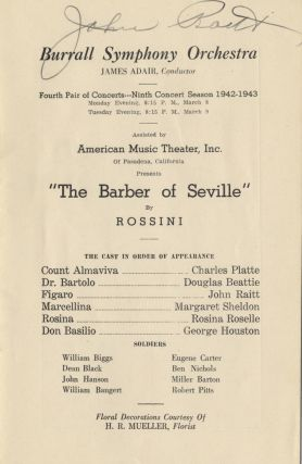 Signed program for a performance of Rossini's Barber of Seville with the Burrall. John RAITT