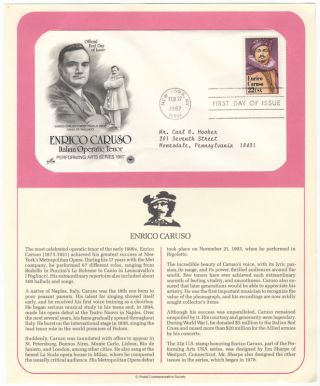 Official First Day of Issue envelope with two portraits of Caruso at left. Enrico CARUSO