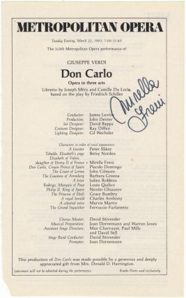 Signed excerpt from a Metropolitan Opera program for a performance of Verdi's Don Carlo, New York, March 22, 1983. Mirella born 1935 FRENI.