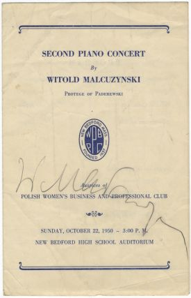Signed program for a concert of works for piano by Franck, Brahms, Chopin, Szymanowski, Prokofieff, Debussy, and Liszt, Polish Women's Business and Professional Club, New Bedford, MA, October 22, 1950. Witold MALCUZYŃSKI.