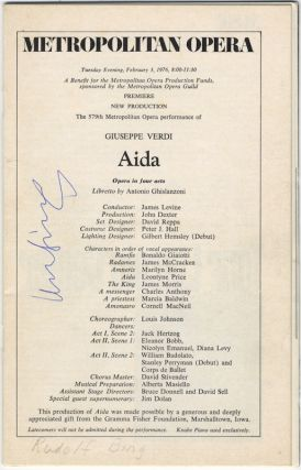 Signed program for the Metropolitan Opera's premiere of a new production of Verdi's Aida, New York, February 3, 1976. Rudolf BING.