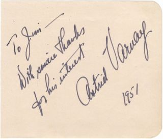 Autograph signature and inscription of the noted American soprano. Astrid VARNAY.