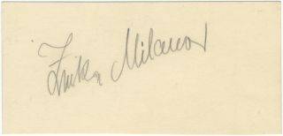 Autograph signature of the noted Croatian soprano. Zinka MILANOV.