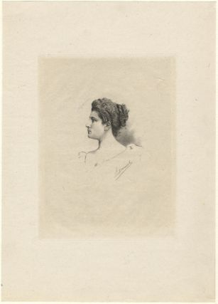 Fine head-and-shoulders portrait etching of the Swiss soprano by F[ernand] Desmoulin. Lucienne...