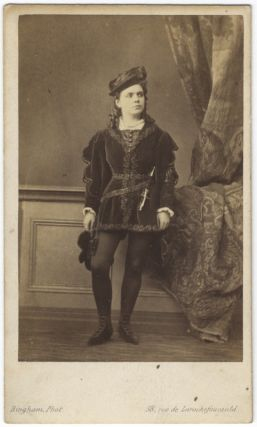 Carte de visite photograph by Bingham, Paris of the noted French mezzo-soprano. Célestine...