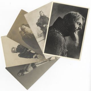 6 vintage postcard photographs of the famed Russian bass in various operatic roles by prominent German-Russian photographers including Carl Andreyevich Fischer (1859-after 1923) and Richard Thiele (1843-1911). Fyodor CHALIAPIN.