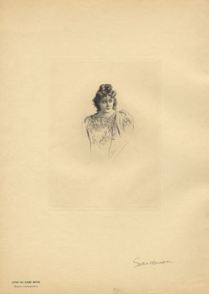 Half-length reproduction of an original etching by Fernand Desmoulin (1853-1914) of the noted American soprano in costume as Esclarmonde