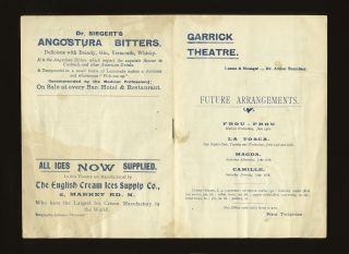 Program for the Garrick Theatre featuring a performance by Bernhardt of Sardou's play, La Tosca