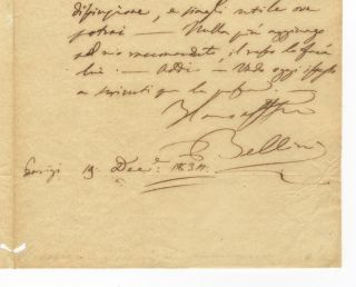 "Autograph letter signed ""Bellini"" to Francesco Florimo (1800-1888). Vincenzo BELLINI."