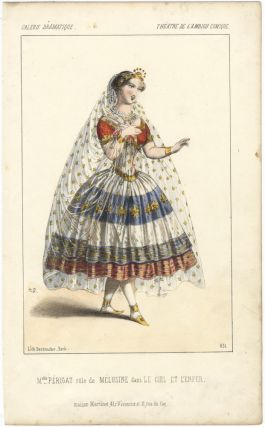 Hand-coloured lithograph by Destouches of Mlle. Périgat in the role of Mélusine in the play Le Ciel et L'Enfer. THEATRE PRINT.
