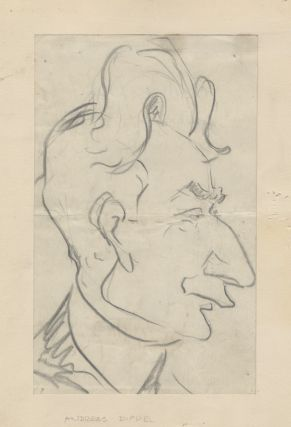 Original caricature in pencil of the German-born American tenor and impresario Andreas Dippel...