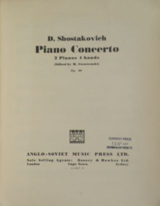 [Op. 102]. Soch 102 Kontsert No. 2 dlia fortep'iano s orkestrom Perelozhenie dlia dvukh fortep'iano avtora [Concerto no. 2 for piano and orchestra. Transcription for two pianos, by the author]. [Score]. Dmitri SHOSTAKOVICH.
