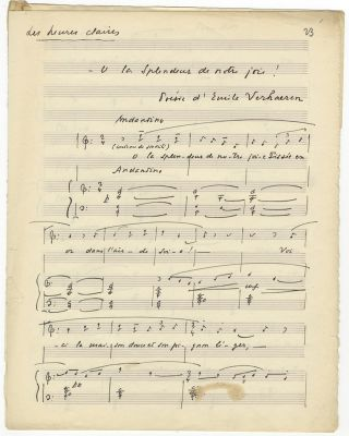 "Les heures claires; Spleen. Autograph musical manuscripts of two songs, both signed ""RL"" Raoul..."