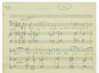 The Invisible Fire. Autograph musical sketch and fragment of typed libretto of an oratorio based on the life of John Wesley, with autograph annotations. Cecil EFFINGER.