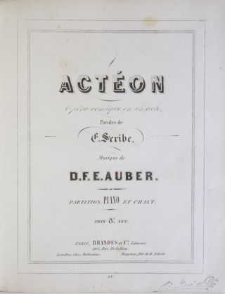 AWV 26]. Actéon Opéra comique en un acte. Paroles de E. Scribe... Partition Piano et Chant....