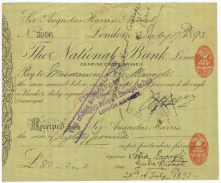 "Autograph signatures of Giulia Ravogli, Sofia Ravogli, and Augustus Harris (""A Harris"") on recto of a check. Giulia 1866-? RAVOGLI, Sofia RAVOGLI."
