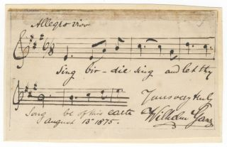 "Autograph musical quotation signed ""Wilhelm Ganz,"" dated August 13, 1875, and inscribed. Wilhelm..."