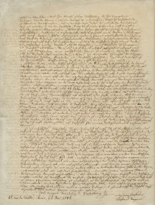 Autograph letter signed in full to the publicist Theodor Winkler (pseud. Theodor Hell). Richard...