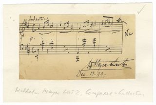 "Autograph musical quotation signed ""W. Meyer Lutz"" and dated December 18, [18]90. Wilhelm Meyer LUTZ"