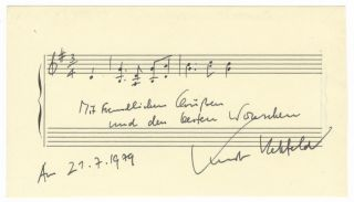 "Autograph musical quotation signed, dated July 21, 1979, and inscribed ""Mit freundlichen..."