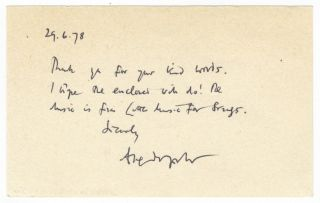 Autograph note signed to an unidentified correspondent. Alexander 1932- GOEHR.