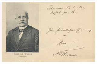 "Autograph postcard signed ""Fr. Wickede,"" dated February 15, [19]02, and inscribed to the...."