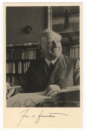 "Bust-length vintage postcard photograph of the composer seated with pen poised over paper signed ""Jos. B. Foerster."" Josef FOERSTER."