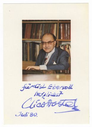 "Bust-length portrait photograph signed, inscribed ""Für Lisl Ebersoll herzlichst Nico Dostel,"" and dated July [19]80. Nico DOSTAL."