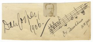 Autograph musical quotation notated, signed, and dated 1906. Sir Dan GODFREY