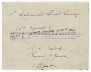 "Autograph musical quotation signed ""Lemaire"" and inscribed ""To Mademoiselle Rachel Loveday"" Fernand fl. early 20th-century LEMAIRE."