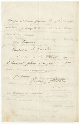 "Autograph letter signed in full to ""Monsieur Marie [?Escudier]."" Rosine STOLTZ."