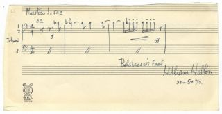 "Autograph musical quotation signed ""William Walton."" Sir William WALTON."