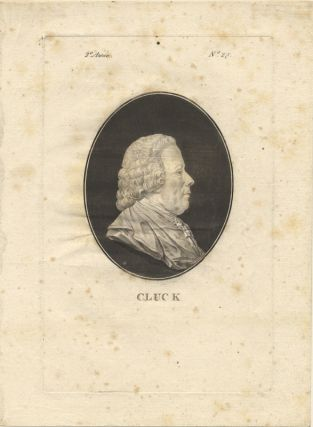 Aquatint portrait engraving, Paris, ca. 1781, possibly derived from the St. Aubin portrait. Christoph Willibald Ritter von GLUCK.