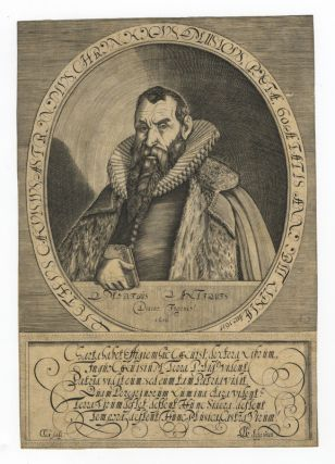"Fine half-length portrait engraving in formal dress holding a copy of his ""Chronologia."" Dated..."