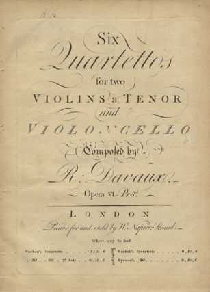 Op. 6]. Six Quartettos for two Violins a Tenor and Violoncello... Opera VI. Jean-Baptiste DAVAUX