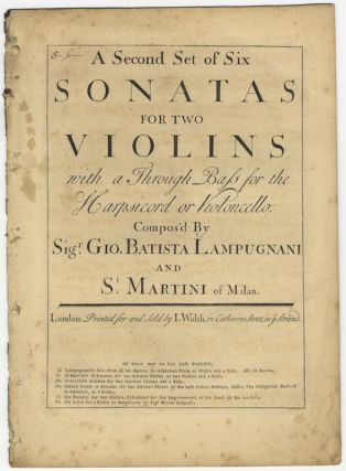 [Op. 1]. Six Sonatas for two Violins with a Through Bass for the Harpsicord or Violoncello. [Violin parts only]