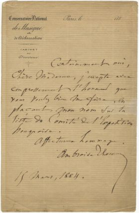 "Autograph letter signed in full to ""Chère Madame."" Ambroise THOMAS."