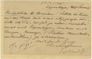 "Autograph letter signed ""Edvard G."" to music publisher Henri Hinrichsen. Edvard GRIEG."