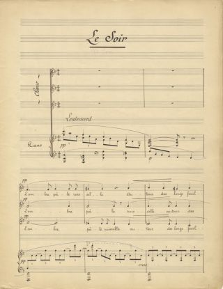 """Deux choeurs pour voix égales Poésie de Max Hermant... A Monsieur Walter Damrosch."" Copyist's manuscript of ""Le Soir"" and ""Printemps."" Signed and dated by the composer and with his autograph corrections, both dynamic and notational. Jean ROGER-DUCASSE."