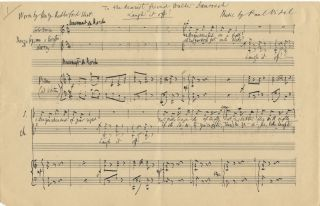 """Laugh it off!"" and The Manger Song of Mary. Autograph musical manuscripts of two complete songs. Signed in full. Paul VIDAL."