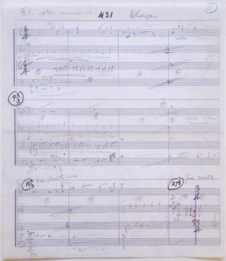 "Autograph musical manuscript for an unidentified film. Signed ""B. Kaper."" Bronisław KAPER, Bronislau."