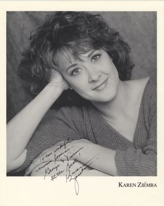 "Bust-length photograph of the noted American singer, actress, and dancer signed in full and inscribed ""To two wonderful music lovers – George & Vivian All the Best! Karen Ziemba"" Karen born 1957 ZIÉMBA."