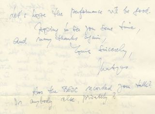 "Autograph letter signed ""Matyas"" to the noted English composer, broadcaster, and writer on music Antony Hopkins. Mátyás SEIBER."