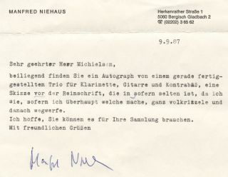 Typed letter signed in full to Dutch collector Peter Michielsen. Manfred NIEHAUS.
