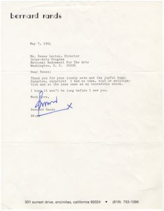 "Typed letter signed ""Bernard"" to the noted music administrator and author Renée Levine Packer...."