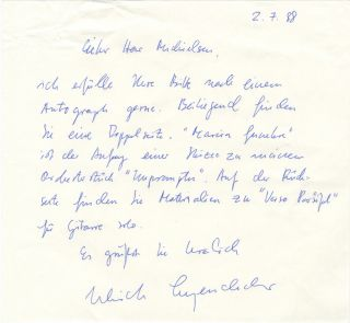 Autograph letter signed in blue ink to Dutch collector Peter Michielsen. Ulrich LEYENDECKER
