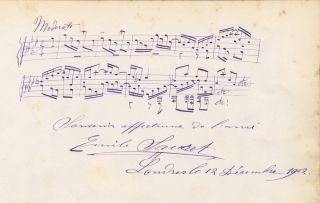 Autograph musical quotation signed in full. Émile SAURET.